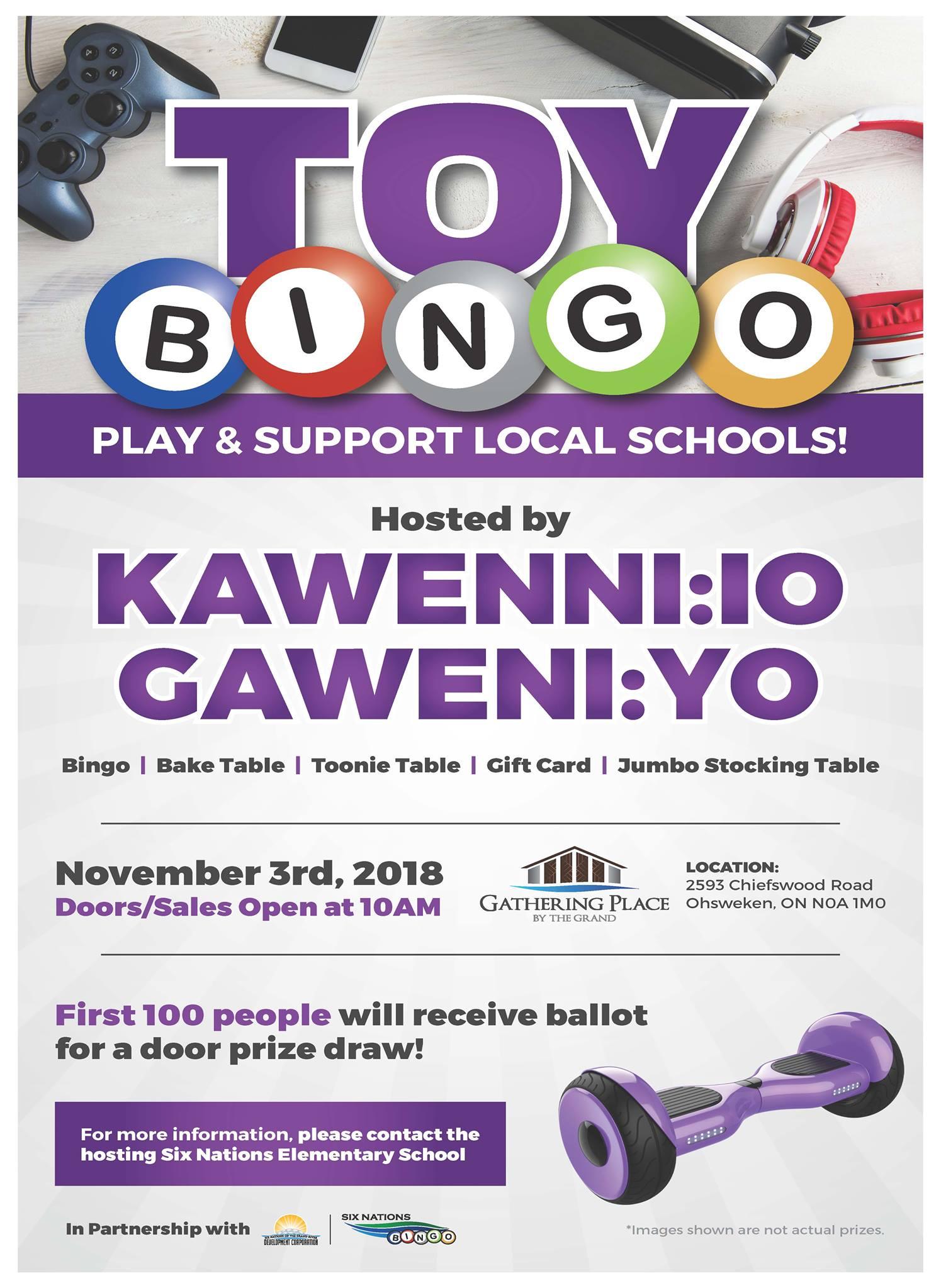 Six Nations Bingo Presents Toy Bingo in Support of Kawenn:io