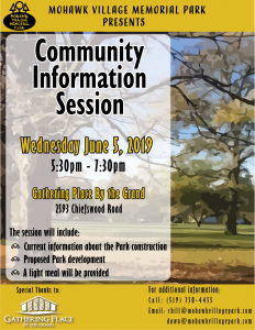 Mohawk Village Memorial Park Information Session Poster