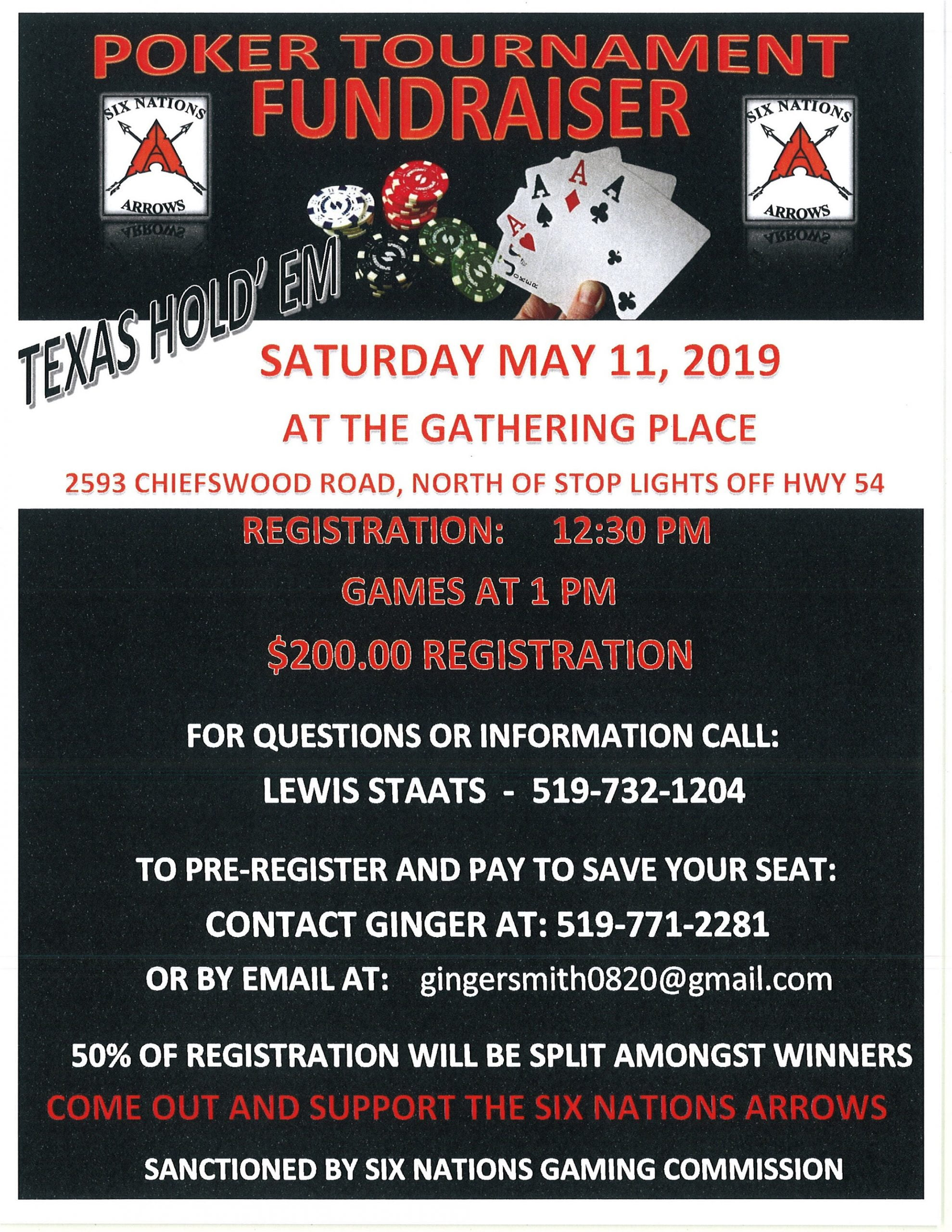 Six Nations Arrows Texas Holdem Poker Tournament