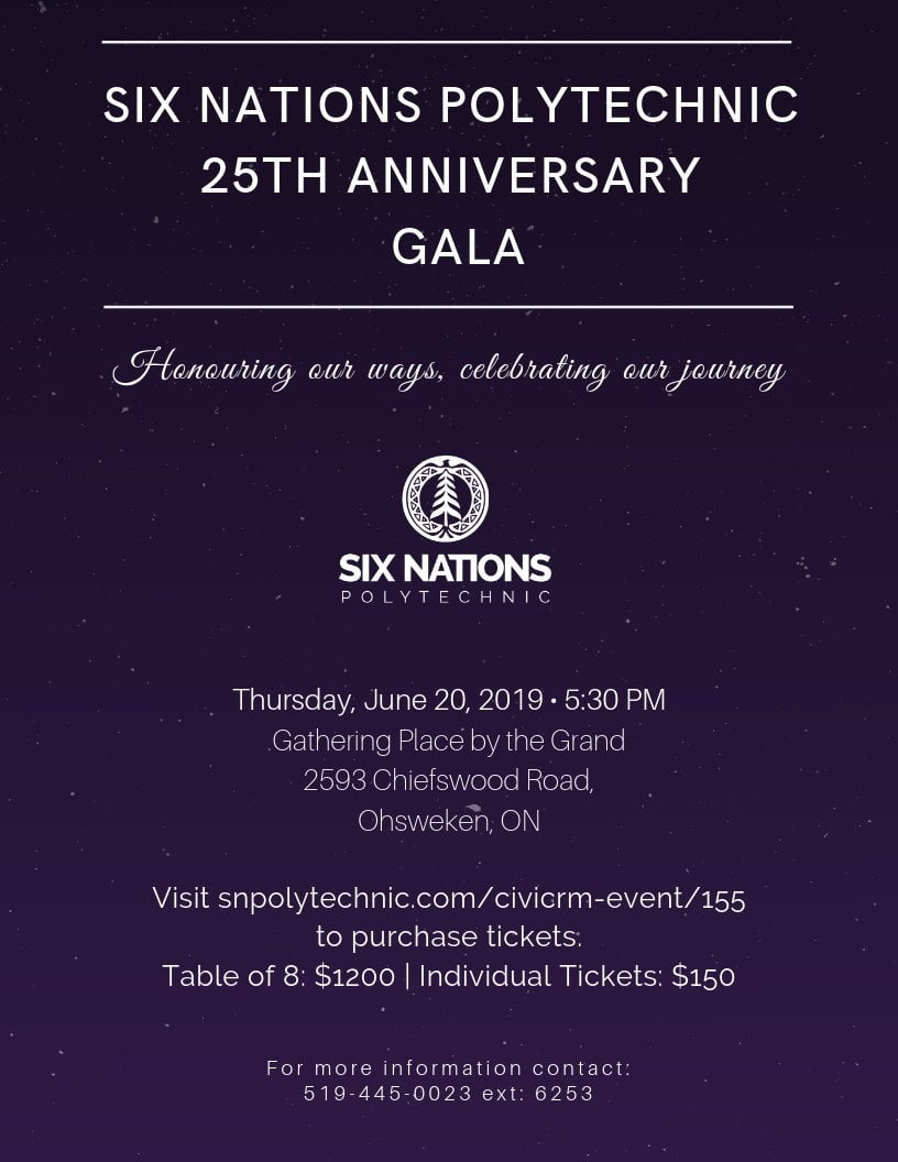 Six Nations Polytechnic 25th Anniversary Gala Poster