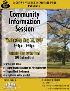 Mohawk Village Memorial Park Community Information Session Poster